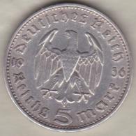 5 Reichsmark 1936 F (STUTGART) Paul Von Hindenburg, En Argent - [ 4] 1933-1945 : Third Reich