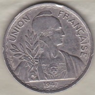 INDOCHINE .UNION FRANCAISE. 1 PIASTRE 1947 .Tranche Striée - Colonies