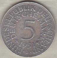 5 Mark 1951 J (HAMBOURG) , En Argent - [ 7] 1949-… : FRG - Fed. Rep. Germany