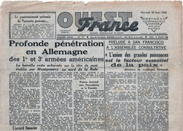 Rare Jpurnal Ouest France Du 28 Mars 1945 - 1939-45