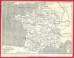 Divisions Ecclésiastiques De La France (catholique) Au Moment De La Séparation église état Loi 1905 Larousse 1908 - Vieux Papiers