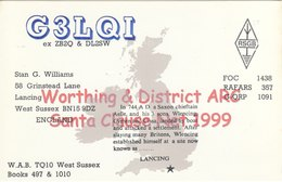 Amateur Radio QSL Card G3LQI 1999 Worthing & District ARC Santa Clause Williams - Radio Amateur