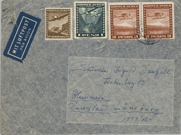1953 CHILE , SOBRE CIRCULADO POR AVION  , PUERTO MONTT - LÜNEBURG , TRÁNSITO SANTIAGO - Chile
