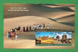 INDIA 2018 Inde Indien - HOLIDAY DESTINATIONS 2v MNH ** Miniature Sheet - Forts, Palace, Tourism, Lake, Desert, Camels - Inde