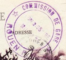 Cachet Commission Militaire De La Gare - Rouen RD Sur Carte Rouen - Statue De Napoléon - Postmark Collection (Covers)
