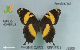 Jamaica, JAM-1F, Papilio Homerus, 2 Scans.   1JAMF  BSt - Jamaica
