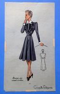 Ancien Pochoir Croquis Patron Mode Aquarellé  1940 Marocaire Noir Incrusté De Velours - Disegni