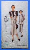Ancien Pochoir Croquis Patron Mode Aquarellé 1940  Vêtements Beige - Disegni