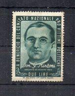 Italia - ETICHETTA - ERINNOFILO - 1945 - Pro Vittime Politiche - Don G. MINZONI - Nuovo - Linguellato - (FDC11704) - Erinnofilia
