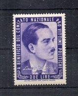 Italia - ETICHETTA - ERINNOFILO - 1945 - Pro Vittime Politiche - LAURO DE BOSIS - Nuovo - Linguellato - (FDC11706) - Erinnofilia