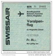 Swissair - Voralpenflug 1966 Rundflugbetrieb Ab Flughafen Zürich - Tickets