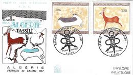 ALGÉRIE / ALGERIA 1967 FDC 1er JOUR - YT437/440 - 2° Série Peintures Rupestres - Algeria (1962-...)