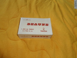 JEU DE TAROT 78 CARTES A JOUER GLACEES LAVABLES CREDIT LYONNAIS AU DOS. / BEAUNE HERON AVEC REGLE DU JEU.. - Tarot-Karten