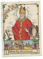 CPSM Les Saints Patrons Saint Eloi  Patron Des Orfèvres Forgerons Serruriers Maréchaux Ferrant Cultivateurs Barré Dayez - Andere Illustrators