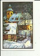 Carte Depliante De Meilleurs Voeux 2006 _ Un Village  Une Rue Et Eglise  Garnie De Paillettes Dorées - New Year