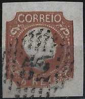 PORTUGAL Don Pedro N°5 Brun Rouge Oblitéré GC 52 Belles Marges Rare Ainsi Signé Brun - Oblitérés