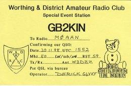 Amateur Radio QSL Card GB2KIN Worthing Club Children In Need 1998 Pudsey Bear - Radio Amateur