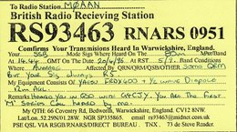Amateur Radio QSL Card RS93463 RNARS0951 British Radio Receiving Station - Radio Amateur