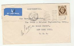 1950 Air Mail GB COVER 1/-  Stamps To USA - 1902-1951 (Kings)