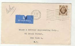 1949 Air Mail GB COVER 1/-  Stamps To USA - 1902-1951 (Kings)