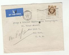 1948 Air Mail GB COVER 1/-  Stamps To USA , Airmail Label - 1902-1951 (Kings)