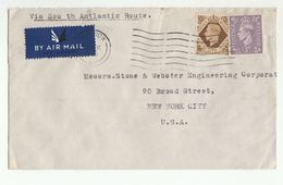 1950s Air Mail GB COVER 1/-  3d Stamps To USA - 1902-1951 (Kings)