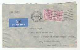 1948 Air Mail GB COVER  2x 6d Stamps To USA , Airmail Label - 1902-1951 (Kings)