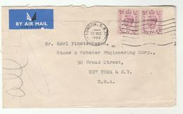 1949 Air Mail GB COVER  2x 6d Stamps To USA , Airmail Label - 1902-1951 (Kings)
