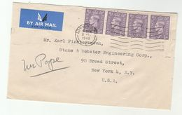 1949 Air Mail GB COVER  4x 3d Stamps To USA , Airmail Label - 1902-1951 (Kings)