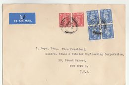 1949 Air Mail GB COVER  4x 2 1/2d  2 X 1d Stamps To USA , Airmail Label - 1902-1951 (Kings)