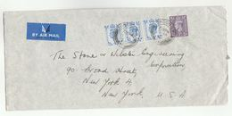1953 Air Mail GB COVER  3x 4d 1x 3d Stamps To USA  London SW1 24 Cds Pmk Airmail Label - 1902-1951 (Kings)