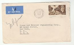 1948 Air Mail GB COVER  1/- OLYMPICS  Stamps To USA , Airmail Label , Olympic Games - 1902-1951 (Kings)