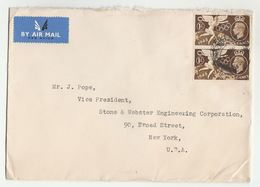 Air Mail GB COVER  2x 1/-  1948 OLYMPICS  Stamps To USA , Airmail Label , Olympic Games - 1902-1951 (Kings)