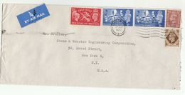 1951 Air Mail GB COVER  Multi FESTIVAL OF BRITAIN  Stamps To USA - 1902-1951 (Kings)