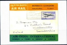 INDIA-HISTORICAL COVERS ON POST INDEPENDENCE- PICTURE POST CARD- AIR MAIL-BOMBAY LONDON FIRST FLIGHT- MC-77 - India