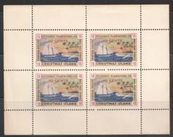 Sheetlet Of 4 - Red 10 Cents - Cocoanut Plantations Ltd -  Third Printing  1926  Mint No Hinge Disturbed Gum Very Rare - Christmas Island