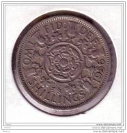 Angleterre, Great Britain, 1956, 2 Shilling, - 1902-1971 : Monnaies Post-Victoriennes