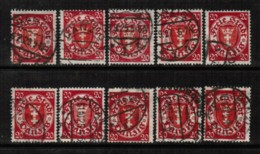 DANZIG   Scott # 177 USED WHOLESALE LOT OF 10 (WH-228) - Stamps