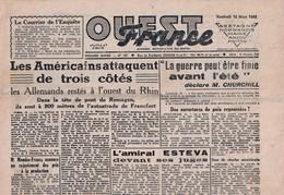 Rare Journal Ouest-france Du 16 Mars 1945 - 1939-45