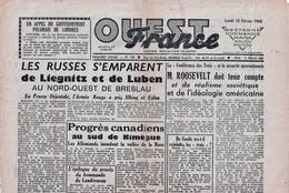 Rare Journal Ouest-france Du 12 Fév(rier 1945 - 1939-45