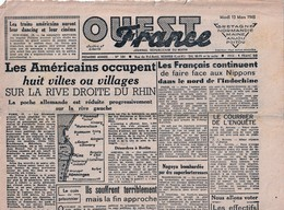 Rare Journal Ouest-france Du 13 Mars 1945 - 1939-45