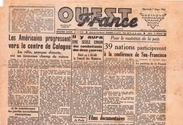 Rare Journal Ouest-france Du 7 Mars 1945 - 1939-45
