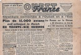 Rare Journal Ouest-france Du 16 Février 1945 - 1939-45