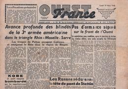 Rare Journal Ouest-france Du 19 Mars1945 - 1939-45