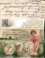 576434,tolle Präge Lithographie Schwäne Schwan Engel See - Engel
