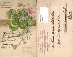 576433,Präge Lithographie Blumen Klee Namenstag - Feiern & Feste