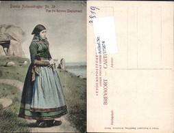 575874,Volkstypen Typen Danske Nationaldragter Pige Fra Refsnaes Dagligdragt Dänemark - Trachten