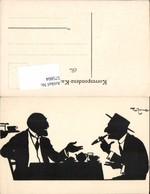 575804,Künstler AK Theo Zasche Scherenschnitt Silhouette Rauchen Zigarette - Scherenschnitt - Silhouette