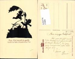 575806,Künstler AK Scherenschnitt Silhouette Amor Engel Pub Gunkel 262/2 - Scherenschnitt - Silhouette