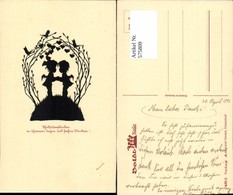 575809,Künstler AK Scherenschnitt Silhouette Engel Kinder Pub Gunkel 429/2 - Scherenschnitt - Silhouette
